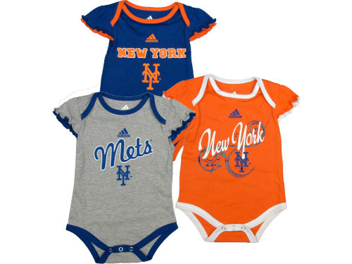 New York Mets Outerstuff MLB Newborn Girls 3 Piece Bodysuit Set