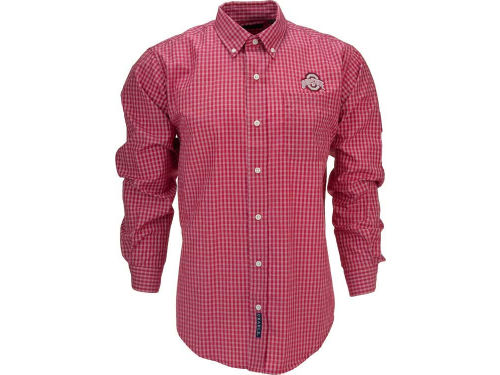 Ohio State Buckeyes Button Up Flannel Plaid Shirt