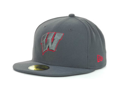Wisconsin Badgers NCAA Gray Pop 59FIFTY Cap Hats
