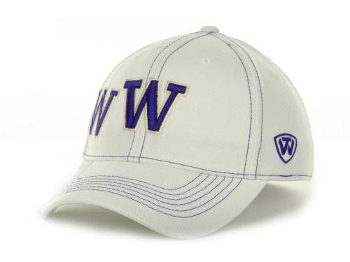 Washington Huskies Top of the World NCAA Sketched White Cap Hats