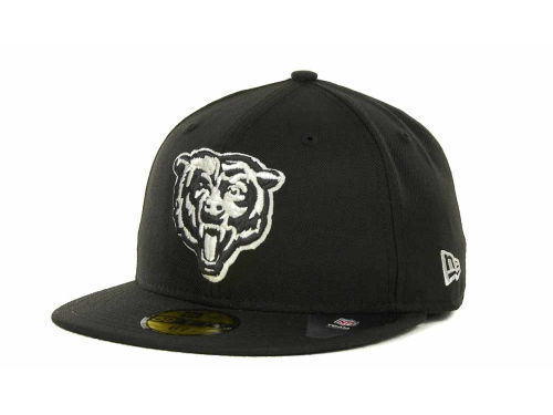 Chicago Bears New Era NFL Black And White 59FIFTY Cap Hats
