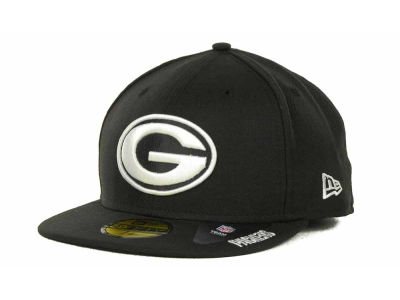 Green Bay Packers NFL Black And White 59FIFTY Cap Hats