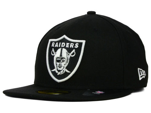 Oakland Raiders New Era NFL Black And White 59FIFTY Cap Hats