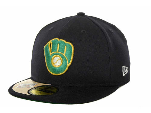 Milwaukee Brewers New Era MLB Cooperstown Patch 59FIFTY Cap Hats