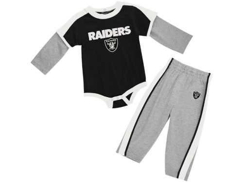 Oakland Raiders Outerstuff NFL Infant Long Sleeve Creeper And Pant Set