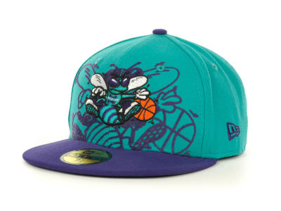 Charlotte Hornets Over Flock 59FIFTY Cap Hats
