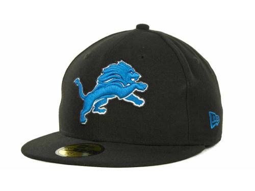 Detroit Lions New Era NFL Black Team 59FIFTY Cap Hats