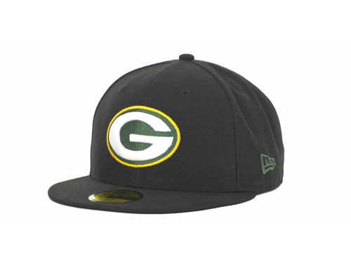 Green Bay Packers New Era NFL Black Team 59FIFTY Cap Hats