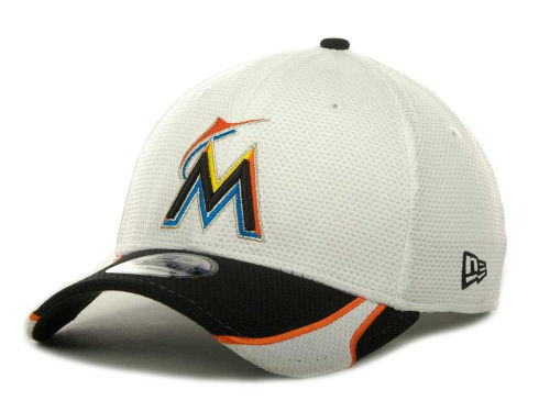 Miami Marlins New Era MLB White Tech 39THIRTY Cap Hats
