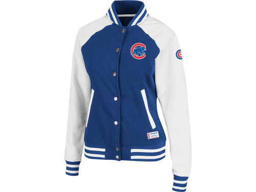 Chicago Cubs Majestic MLB Womens Pumped Up Varsity Fleece Jacket