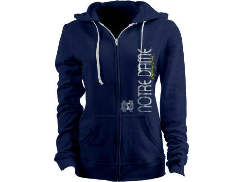 Notre Dame Fighting Irish Blue 84 NCAA Womens Cherilee Burnout Full Zip Hoodie