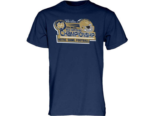 Notre Dame Fighting Irish Blue 84 NCAA 2013 BCS Bound Undefeated Schedule T-Shirt