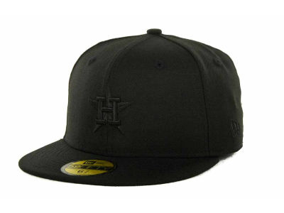 Houston Astros MLB Black on Black Fashion 59FIFTY Hats