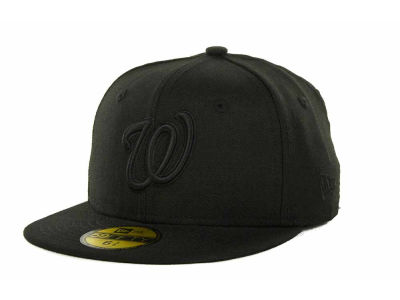 Washington Nationals MLB Black on Black Fashion 59FIFTY Hats