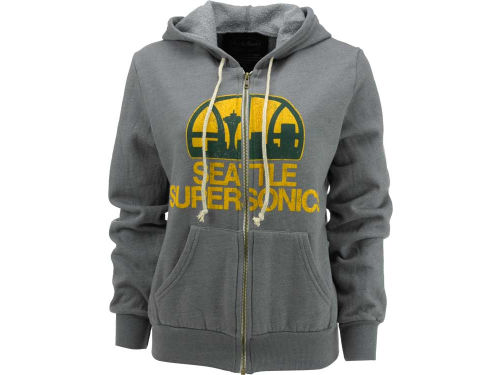 Seattle SuperSonics NBA Womens Hardwood Classics Logo Triblend Full Zip Hoodie