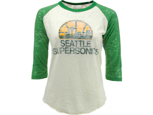 Seattle SuperSonics NBA Womens Hardwood Classics Logo 3/4 Sleeve Burnout T-Shirt
