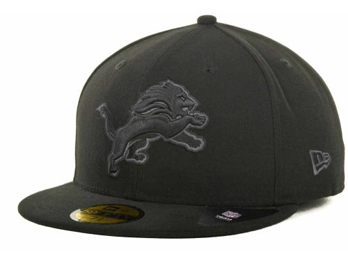 Detroit Lions New Era NFL Black Gray Basic 59FIFTY Cap Hats