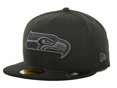 Seattle Seahawks NFL Black Gray Basic 59FIFTY Cap Hats