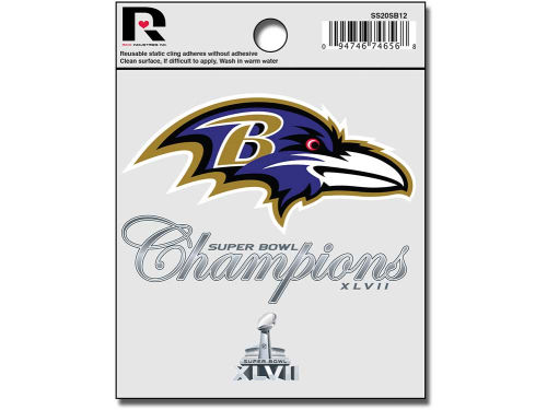 Baltimore Ravens Rico Industries NFL Super Bowl XLVII Champ Static Cling Decal