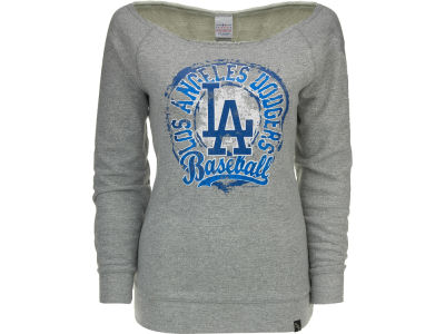 Los Angeles Dodgers MLB Womens Mock Twist Scoop Long Sleeve Raglan Sweatshirt
