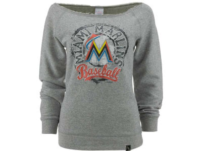 Miami Marlins MLB Womens Mock Twist Scoop Long Sleeve Raglan Sweatshirt