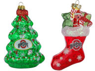 Forever Collectibles Blown Glass Ornament 2 Pack Holiday
