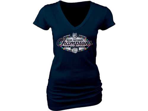 Connecticut Huskies Blue 84 NCAA 2013 Womens WFF National Champ V-Neck T-Shirt