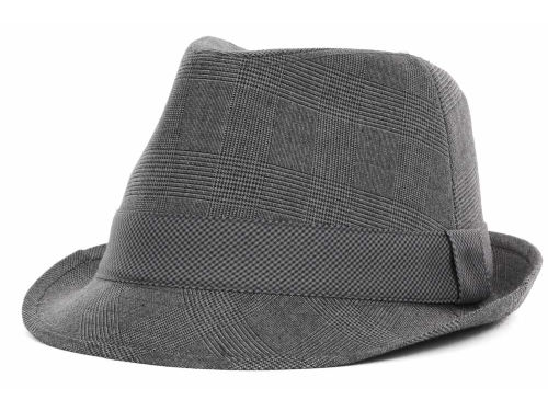 LIDS Private Label PL Grey Plaid Fedora w/ Houndstooth Band Hats
