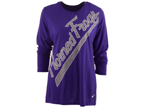 Texas Christian Horned Frogs Nike NCAA Womens Angled Script Long Sleeve T-Shirt