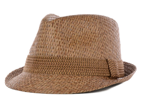 LIDS Private Label Brown Straw Fedora with Contrast Band Hats