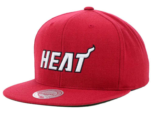 Miami Heat Mitchell and Ness NBA Solid Snapback Cap Hats