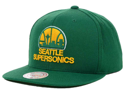 Seattle SuperSonics Mitchell and Ness NBA Solid Snapback Cap Hats
