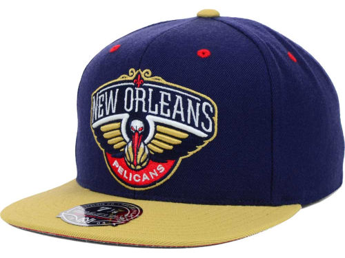 New Orleans Pelicans Mitchell and Ness NBA 2-Tone High Crown Fitted Cap Hats