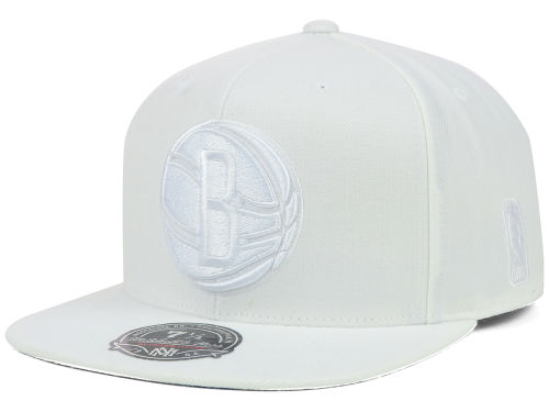 Brooklyn Nets Mitchell and Ness NBA Under White Fitted Hat Hats