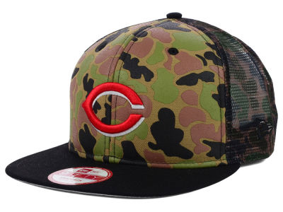 Cincinnati Reds MLB Camo Face Mesh Trucker 9FIFTY Snapback Cap Hats