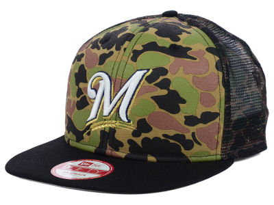 Milwaukee Brewers MLB Camo Face Mesh Trucker 9FIFTY Snapback Cap Hats