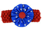 Kansas Jayhawks Crocheted Headband with Rosette Headbands & Wristbands
