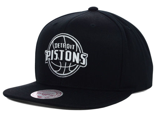 Detroit Pistons Mitchell and Ness NBA Team BW Snapback Hat Hats
