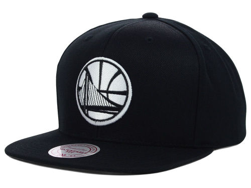 Golden State Warriors Mitchell and Ness NBA Team BW Snapback Hat Hats