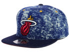 Miami Heat Mitchell and Ness NBA Dirty Denim Fitted Hat Hats
