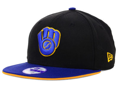 Milwaukee Brewers MLB Youth Black Team Flip 9FIFTY Snapback Cap Hats