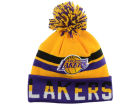 Los Angeles Lakers Mitchell and Ness NBA Trifecta Cuffed Pom Knit Hats