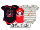 Atlanta Braves Majestic MLB Newborn Girls TP Bodysuit Set Infant Apparel