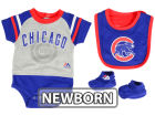 Chicago Cubs Majestic MLB Newborn LP Creeper Bib and Bootie Set Infant Apparel