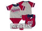 Washington Nationals Majestic MLB Newborn LP Creeper Bib and Bootie Set Infant Apparel