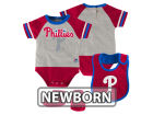Philadelphia Phillies Majestic MLB Newborn LP Creeper Bib and Bootie Set Infant Apparel