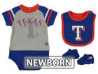 Texas Rangers Majestic MLB Newborn LP Creeper Bib and Bootie Set Infant Apparel