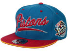 Detroit Pistons Mitchell and Ness NBA Scripture Fitted Cap Hats