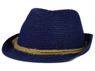 LIDS Private Label PL Navy Straw Fedora w/ Braided Rope Band Hats
