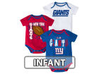 New York Giants Outerstuff NFL Infant 3 Point Spread Body Suit Set Infant Apparel